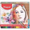 """MAPED Akvarell ceruza készlet, ecsettel, fém doboz, MAPED """"Artists"""", 24 különböző szín"""
