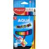 """MAPED Akvarell ceruza készlet, háromszögletű, ecsettel, MAPED \""""Color`Peps\"""", 12 különböző szín [12 db]"""