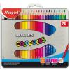 """MAPED Színes ceruza készlet, háromszögletű, fém doboz,  """"Color`Peps"""", 24 különböző szín"""