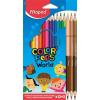 """MAPED Színes ceruza készlet, háromszögletű, MAPED """"Color'Peps World"""", 12 különböző szín + 3 kétvégű bőrtónus ceruza"""