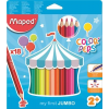 """MAPED Színes ceruza készlet, háromszögletű, vastag,  """"Jumbo"""", 18 különböző szín"""