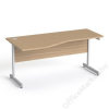 MAYAH Íróasztal, íves, balos,  szürke fémlábbal, 160x80 cm, MAYAH Freedom SV-30, kőris (IBXA30K)