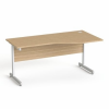 """MAYAH Íróasztal, íves, jobbos, szürke fémlábbal, 160x80 cm, MAYAH """"Freedom SV-29"""", kőris"""