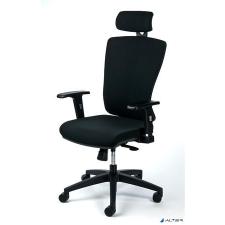 """MAYAH Irodai szék, állítható karfával, fekete szövetborítás, fekete lábkereszt, MAYAH """"Greg"""" forgószék"""