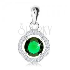 Medál 925 ezüstből, kerek zöld cirkónia, hullámos csillogó kontúr medál