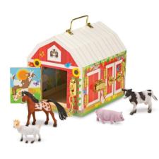 Melissa & Doug fa készségfejlesztő játék, istálló zárakkal és állat figurákkal kreatív és készségfejlesztő