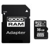 Memóriakártya, microSDHC, 16GB, Class 10 + SD adapter, Good Ram, gyári