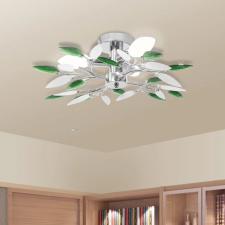 mennyezeti lámpa fehér és zöld akril kristály levél karokkal 3 db E14 izzó izzó