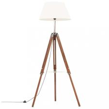 Mézbarna-fehér háromlábú tömör tíkfa állólámpa 141 cm világítás