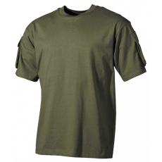 MFH US Olívzöld trikó velcro zsebekkel a karokon, 170g/m2