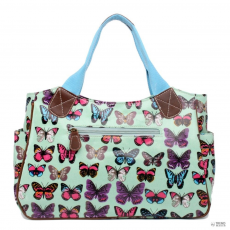 ... vászon táska Flower Polka Dot lila · Miss Lulu London L1105B - Miss Lulu  Oilcloth bevásárló táska táska pillangó zöld cd8000fed2