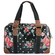 Miss Lulu London L1106F - Miss Lulu Oilcloth utazó táska virágos Dot fekete