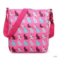 Miss Lulu London LC1644CT - Miss Lulu Regularmattte Oilcloth szögletes táska Cat rózsaszín