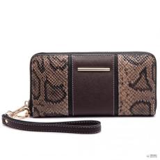 Miss Lulu London LP6681 - Miss Lulu kígyó Print Panel hosszú pénztárca kávé