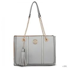 Miss Lulu London LT1859-MISS LULUbőr bojt Lánc bevásárló táska kézi táska  szürke 8078fc66f1