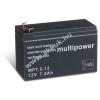 Multipower Ólom akku (Multipower) típus MP7,2-12 - VDS-minősítéssel (csatlakozó: F1)