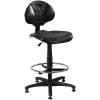 """. Munkaszék, háttámlás, műanyag ülőfelület, állítható lábtartó gyűrűvel""""1290"""", fekete"""