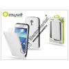 Muvit Samsung i9190 Galaxy S4 Mini flipes tok képernyővédő fóliával - Muvit Slim - white