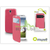 Muvit Samsung i9500 Galaxy S4 S View Cover flipes hátlap on/off funkcióval - Muvit Window Folio - pink