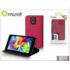 Muvit Samsung SM-G900 Galaxy S5 flipes tok kártyatartóval - Muvit Slim and Stand - pink/black
