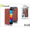 Muvit Samsung SM-G900 Galaxy S5 flipes tok - Muvit Crystal Folio - brown