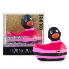 My Duckie Colors 2.0 - csíkos kacsa vízálló csiklóvibrátor (fekete-pink) vibrátorok