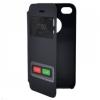 N/A iPhone 4 Műanyag telefonvédő (bőr flip, oldalra nyíló, hívókijelzés, S-View cover, logo kivágás) SÖTÉTKÉK
