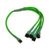 Nanoxia 3-Pin Molex - 4 x 3-Pin adapter - 30 cm - neon zöld