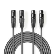 Nedis Nedis Egyensúlyozott XLR audiokábel | 2 db XLR 3 Tűs Dugasz - 2db XLR 3 Tűs Aljzat | 3,0 m | Szürke audió/videó kellék, kábel és adapter