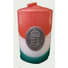 Nemzeti színű henger gyertya 10cm, ón címerrel (3,2x4 cm)
