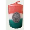 Nemzeti színű henger gyertya 10cm, ón Kossuth címerrel (3,2x4 cm)