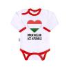 NEW BABY Body nyomtatott mintával New Baby Drukkolok az apuval | Piros | 68 (4-6 h)