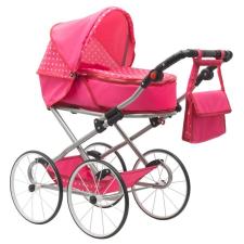NEW BABY Gyermek Retro babakocsi babáknak 2az1-ben New Baby Anetka rózsaszín pöttyös babakocsi