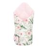 NEW BABY Kétoldalas pólya Velvet New Baby 75x75 cm virágok rózsaszín