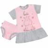 NEW BABY Nyári hálóing bugyival New Baby Hello vízilóval rózsaszín-szürke