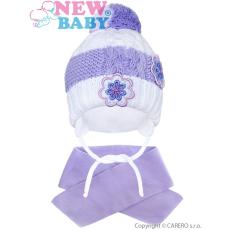 NEW BABY Téli gyermek sapka sállal New Baby virágok lila
