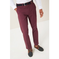 Next , Slim fit chino nadrág övvel, Bordó, 32L (975036-RED-32L)