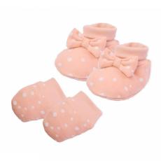 Nicol Baba pamut szett-kiscipő és kesztyű Nicol Rainbow rózsaszín