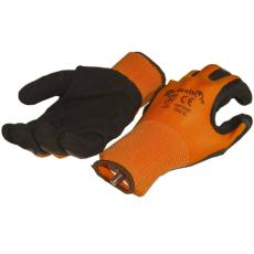 NMSafety hab-latex tenyérmártott nylon szőtt kesztyű (EN 2131), narancssárga-fekete, XL-es