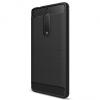 Nokia 5, TPU szilikon tok, közepesen ütésálló, szálcsiszolt, karbon minta, fekete