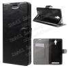 Notesz tok / flip tok - FEKETE - asztali tartó funkciós, oldalra nyíló, rejtett mágneses záródás, bankkártya tartó, szilikon belsõ - Lenovo P90