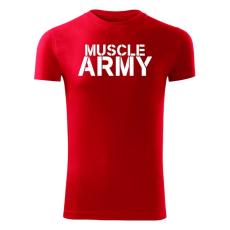 O&T fitness tričko muscle army, červená 180g/m2