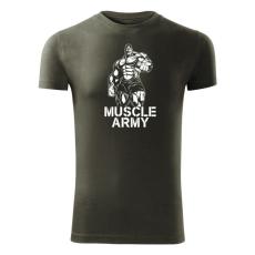 O&T fitness tričko muscle army man, olivová 180g/m2