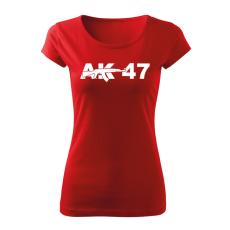 O&T női rövid ujjú trikó ak47, piros 150g/m2