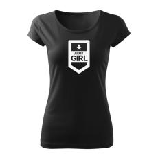 O&T női rövid ujjú trikó army girl, fekete 150g/m2