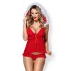 Obsessive Christmas 851-CST-3 - karácsonyi babydoll szett (piros)