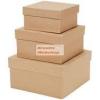 Papírdoboz készlet, kicsi méretű, natúr, négyzetes 3 db-os: 7-6-5cm