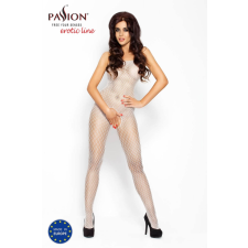 Passion Passion BS010 - káró mintás, nyitott necc overall (fehér) - S-L harisnya