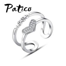 PATICO 925 Sterling ezüst szív motívumos gyűrű, állítható méretű gyűrű