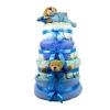 Pelenkatorta Webshop Babaváró ajándék ötlet: Kék négy emeletes pelenkatorta macikkal